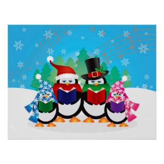 Penguins Christmas Carolers with Hats and Scarfs Poster