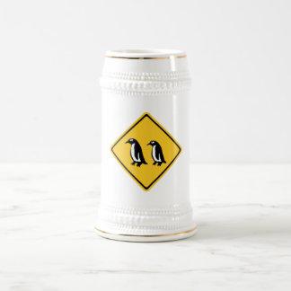 Penguins Crossing, Traffic Sign, New Zealand Beer Steins