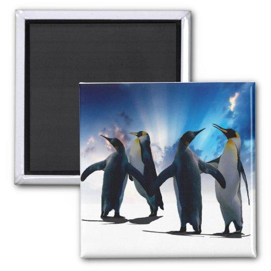 Penguins dance square magnet