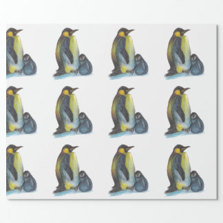 Penguins Drawing Matte Wrapping Paper