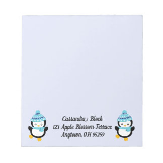 Penguins Dressed for Winter on Light Lilac Notepad