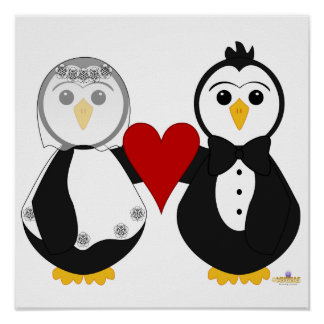 Penguins Getting Married Holding A Heart Poster