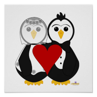 Penguins Getting Married In Love Poster