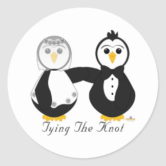 Penguins Getting Married Tying The Knot Round Sticker