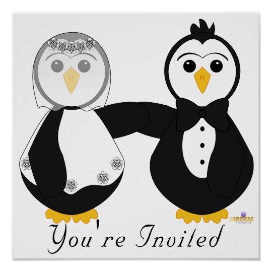 Penguins Getting Married You're Invited Poster