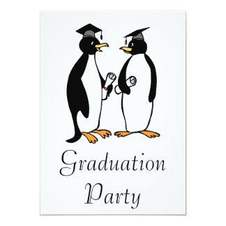 Penguins Graduating 13 Cm X 18 Cm Invitation Card