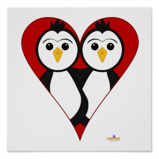 Penguins Heart Posters