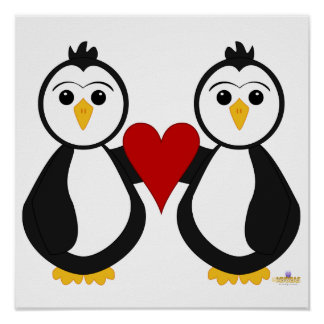 Penguins Holding A Heart Poster