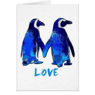 Penguins Holding Hands Love Design Greeting Card