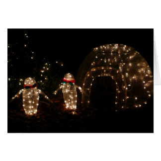 Penguins Holiday Light Display Card