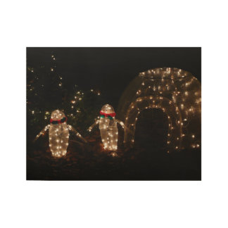 Penguins Holiday Light Display Wood Poster