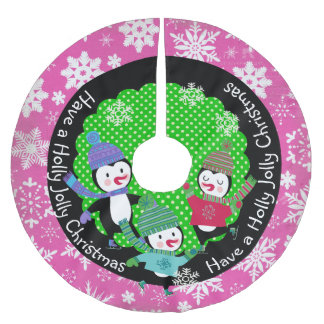 Penguins Holly Jolly Christmas 2Holiday Tree Skirt Brushed Polyester Tree Skirt