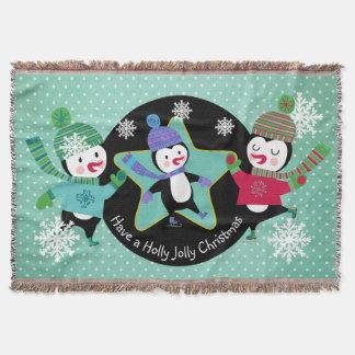 Penguins Holly Jolly Christmas Holiday Throw
