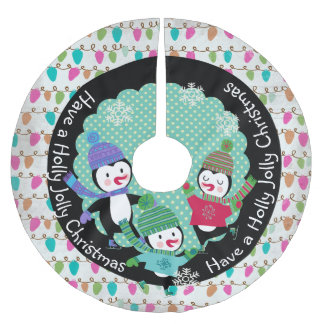 Penguins Holly Jolly Christmas Holiday Tree Skirt Brushed Polyester Tree Skirt