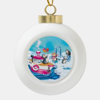 penguins in Antarctica Ceramic Ball Christmas Ornament
