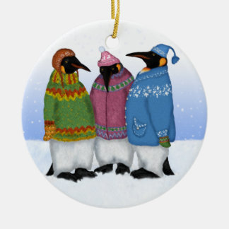 Penguins in Hand knitted Sweaters Ornament