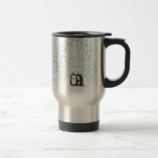 Penguins in Igloo While Snowing 15 Oz Stainless Steel Travel Mug