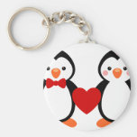 Penguins in Love Basic Round Button Key Ring