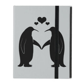 Penguins in Love with Hearts iPad Cover