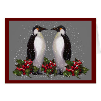 Penguins In Snow: Couple Christmas: Holly: Art Card
