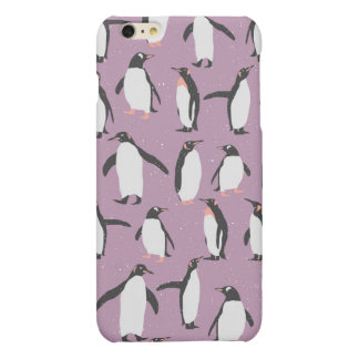 Penguins in the Snow on Purple Background iPhone 6 Plus Case