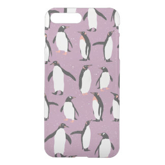 Penguins in the Snow on Purple Background iPhone 8 Plus/7 Plus Case