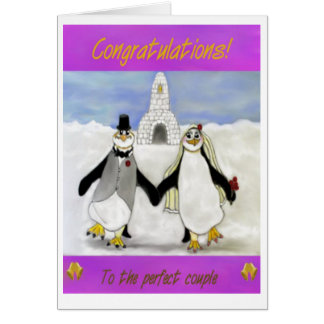 Penguins marriage greeting card