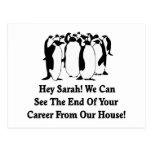 Penguins Message To Sarah Palin Postcard