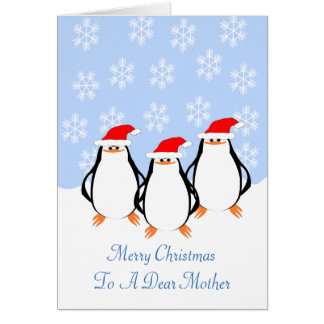 Penguins Mother Christmas Card