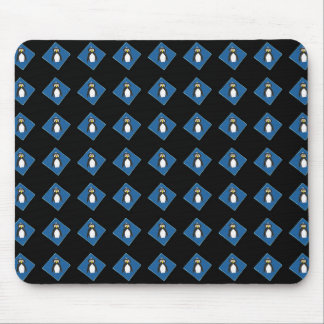 Penguins on Blue Diamonds Black Mousepad