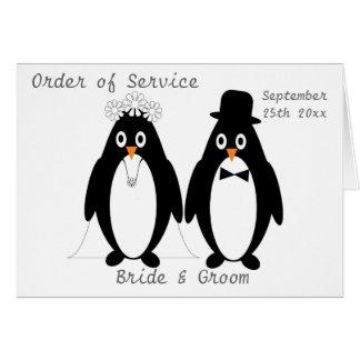 Penguins Order Of Service Card