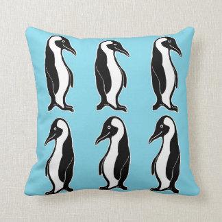 Penguins Pattern Light Blue Pillow