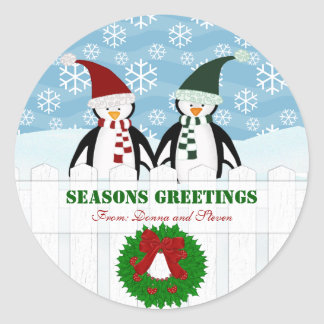 Penguins Personalized Christmas Stickers