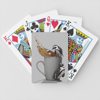 Penguins play time bicycle playing cards