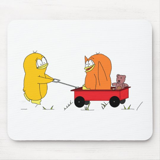 Penguins Playing in a Wagon Mouse Pad