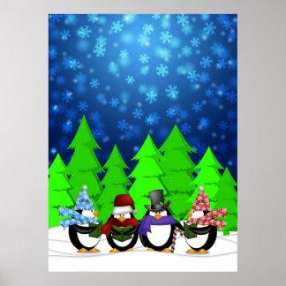 Penguins Quartet Caroling on Christmas Eve Poster