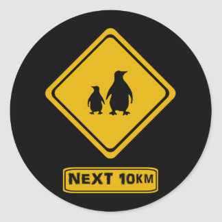 penguins road sign stickers