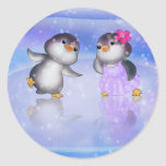 Penguins ! round stickers