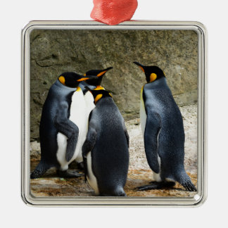 Penguins Silver-Colored Square Decoration