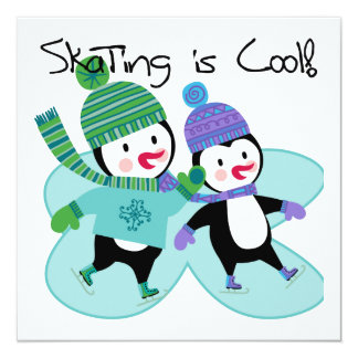 Penguins Skating is Cool 13 Cm X 13 Cm Square Invitation Card