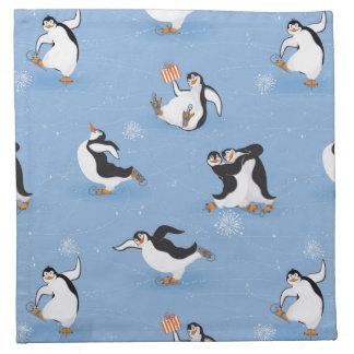 Penguins skating pattern napkin