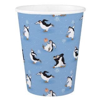 Penguins skating pattern paper cup