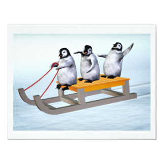 "Penguins Sled 4.25"" X 5.5"" Invitation Card"