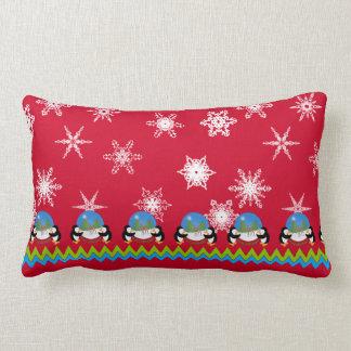 Penguins, Snowflakes and Snowglobes | Christmas Lumbar Cushion