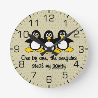 Penguins steal my sanity round clock