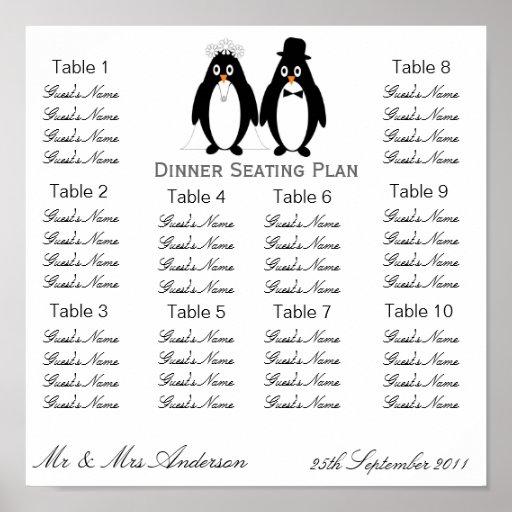 Penguins Wedding Dinner Seating Plan Poster