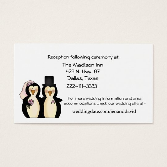 Penguins Wedding enclosure cards