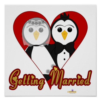 Penguins Wedding Heart Getting Married Poster