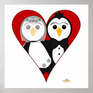 Penguins Wedding Heart Print