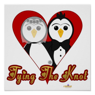 Penguins Wedding Heart Tying The Knot Posters